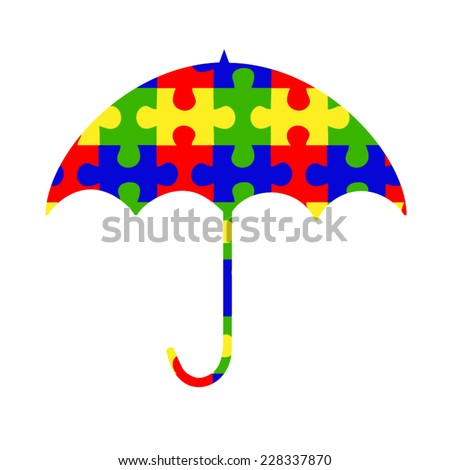 Autism spectrum umbrella with colorful puzzle pieces - stock vector