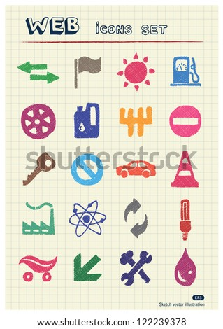 Auto and energy web icons set drawn by color pencils. Hand drawn vector elements pack isolated on paper - stock vector