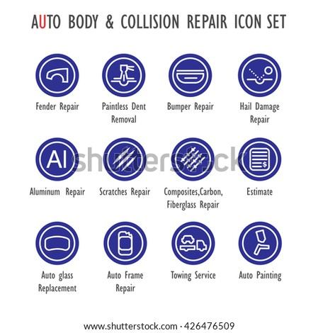 Auto Body Collision Repair Vector Color Stock Vector (Royalty Free ...