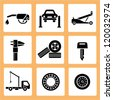 auto car service icons, car parts icons set - stock photo