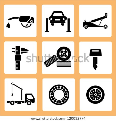 auto car service icons, car parts icons set - stock vector