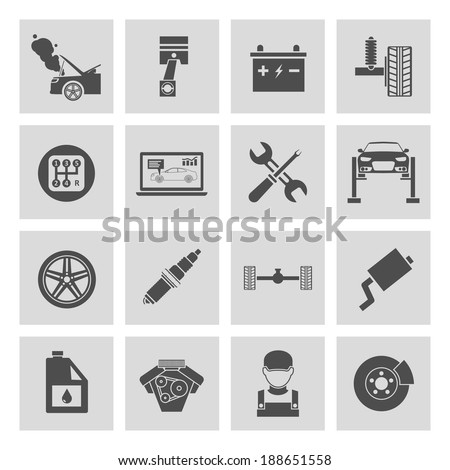 Auto car service icons set of battery tires wheel engine brake repair isolated vector illustration. - stock vector