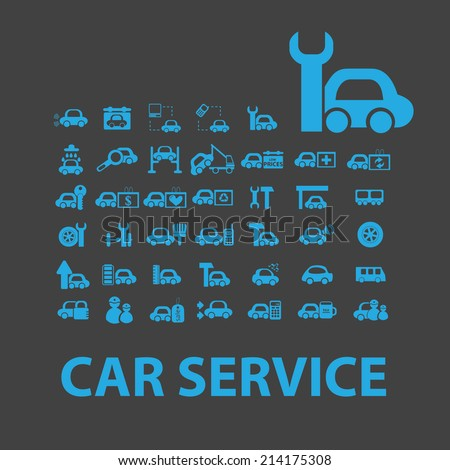 auto, car service isolated icons, signs, illustrations, silhouettes, vectors set - stock vector