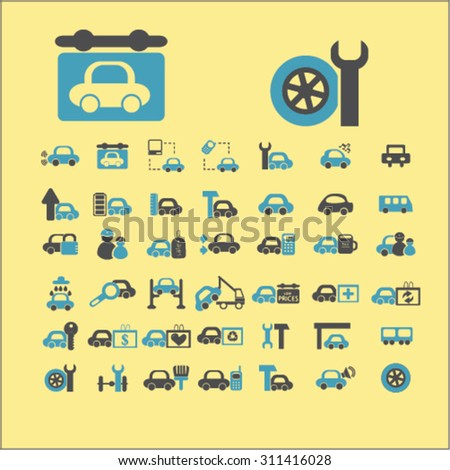 auto, car station, repair service concept icons, signs set, vector - stock vector