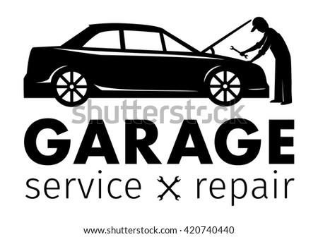 Auto center, garage service and repair logo,Vector Template. - stock vector