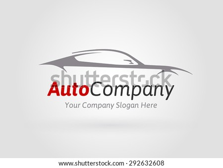 Auto Company Logo Vector Design Concept with Sports Car Silhouette 01 - stock vector