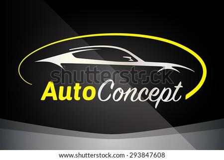Auto Company Logo Vector Design Concept with Sports Car Silhouette - Yellow - stock vector