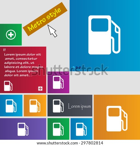 Auto gas station icon sign. buttons. Modern interface website buttons with cursor pointer. Vector illustration - stock vector