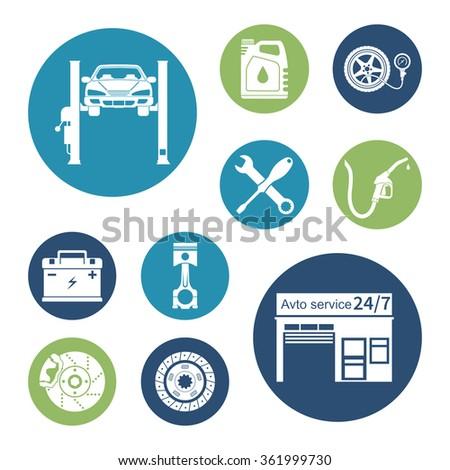 Auto icon vector. Car service maintenance icon. - stock vector