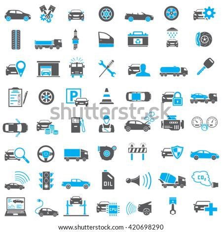 Auto Icons in Blue and Black Color - stock vector