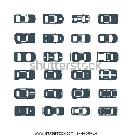 auto icons in flat style - stock vector