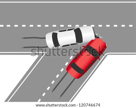 Auto insurance accident crashes two cars on highway wreck - stock vector