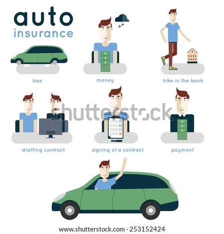 Auto insurance elements of info-graphic. Insurance contract conclusion. Process of car insurance steps. Consultation, singing a contract. Modern flat illustration. - stock vector