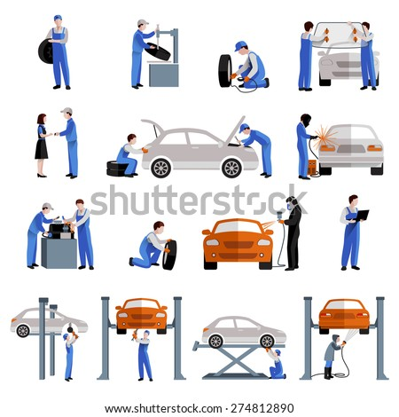 Auto mechanic car service repair and maintenance work icons set isolated vector illustration - stock vector
