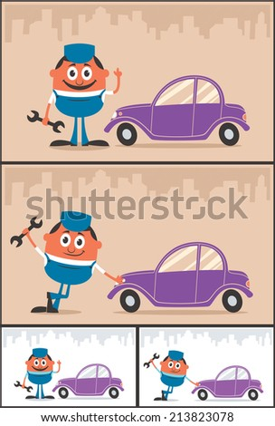 Auto Mechanic: Cartoon illustration of auto mechanic in 4 versions. No transparency and gradients used.