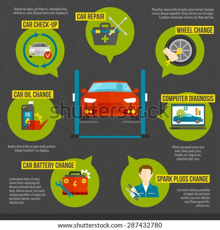 Auto mechanic infographics set with car repair work symbols set vector illustration - stock vector