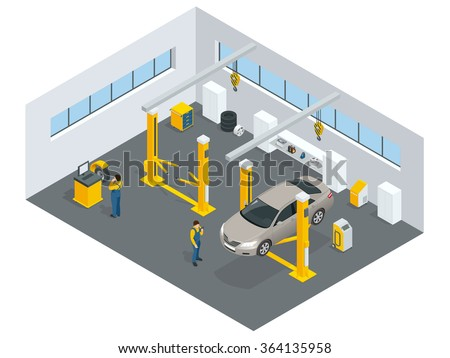 Auto mechanic service. Service station. Flat icons of maintenance car repair and working.  Isolated vector isometric illustration - stock vector
