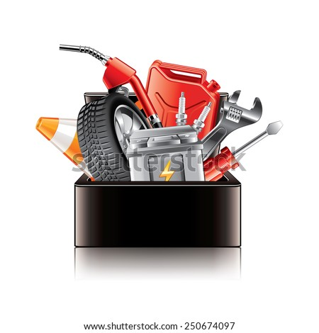 Auto parts box isolated on white photo-realistic vector illustration