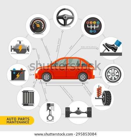 Auto parts maintenance icons. Vector illustration. - stock vector