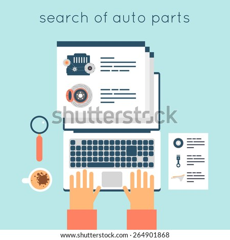 Auto parts on-line searching. Car parts purchasing on-line. Internet shopping process: search, order, pay, deliver. Hands on laptop. Flat design vector illustration. - stock vector