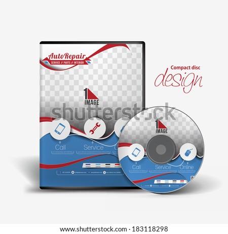 Auto Rapair DVD Case and Disc Vector Design  - stock vector