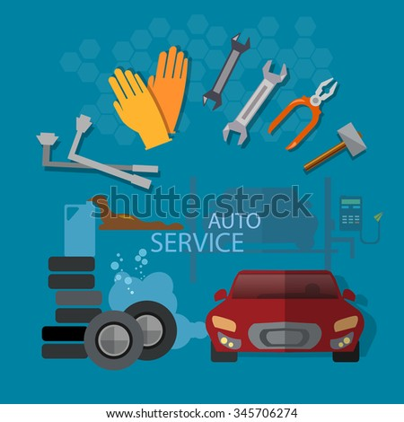 Auto repair auto service garage auto mechanic tools concept - stock vector