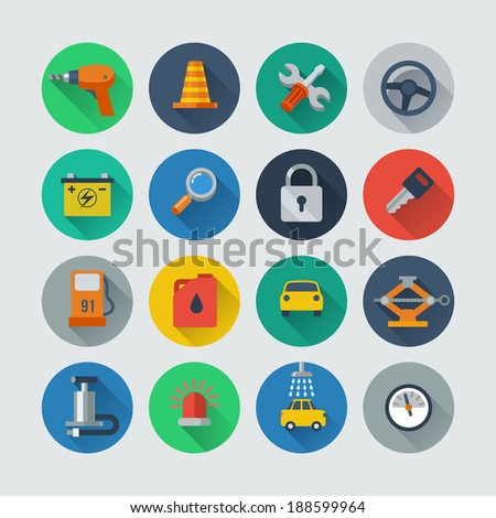 auto repair flat style icons set - stock vector