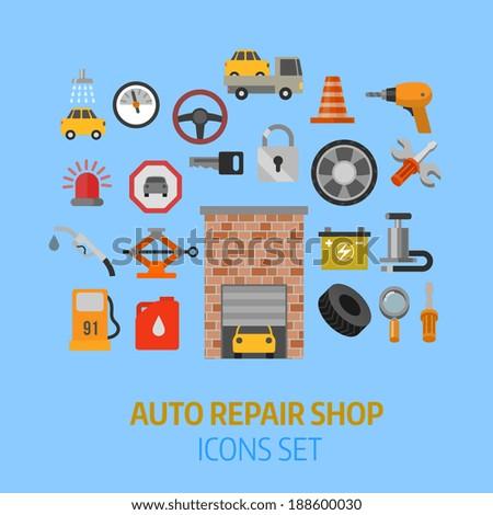 auto repair flat style icons set - stock vector