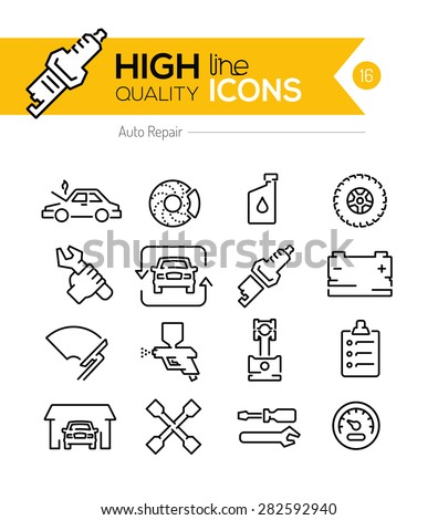 Auto Repair line icons  - stock vector