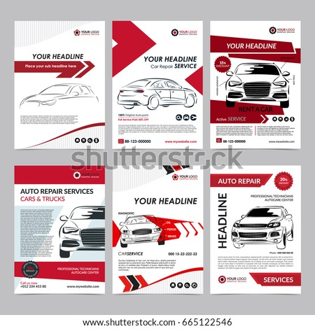 Auto repair services business layout templates stock for Automobile brochure design