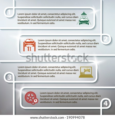 Auto service and car repair background with icons design elements on gray blur glowing background. Modern business presentation template for advertising vehicle repair newsletter. Vector eps 10  - stock vector