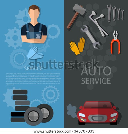 Auto service banners car repair auto mechanic tire service oil change garage technical inspection