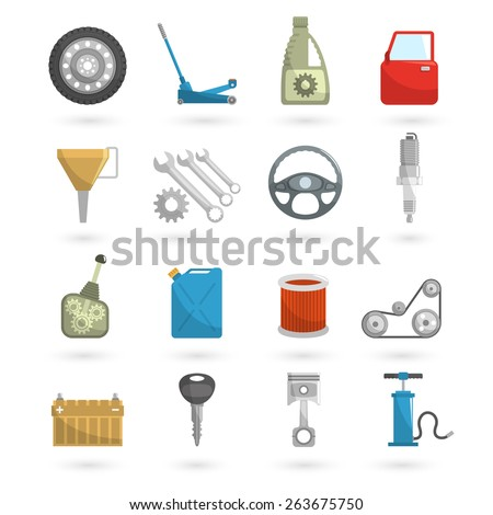 Auto service car repair automobile parts icons flat set isolated vector illustration - stock vector