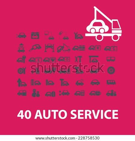 auto service, car repair service icons set - stock vector