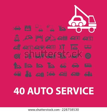 auto service, car repair service icons set - stock vector