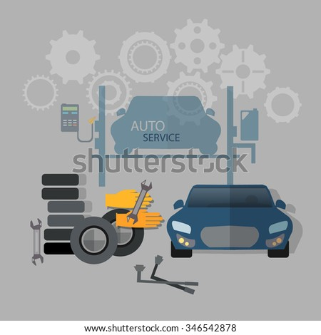Auto service car repair tire service oil change gas station    - stock vector