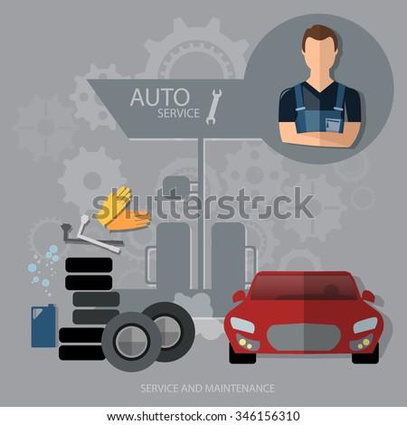 Auto service concept car diagnostics tire oil change professional mechanic car repair  - stock vector