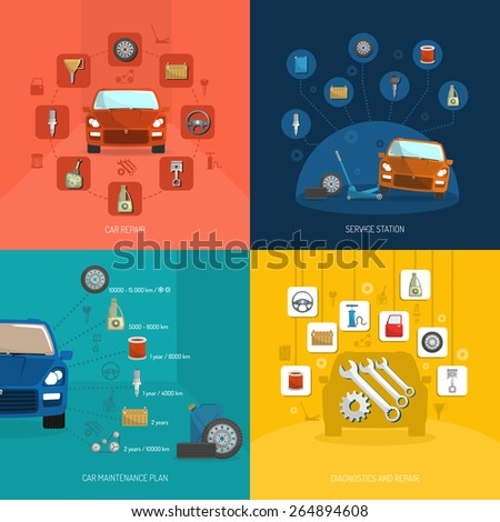 Auto service design concept set with car repair station diagnostics plan flat icons isolated vector illustration - stock vector