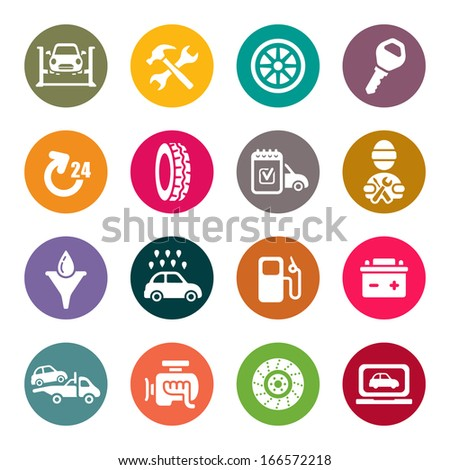 Auto service icon set - stock vector