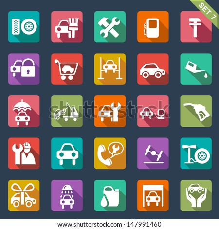 Auto service icon set- flat design - stock vector