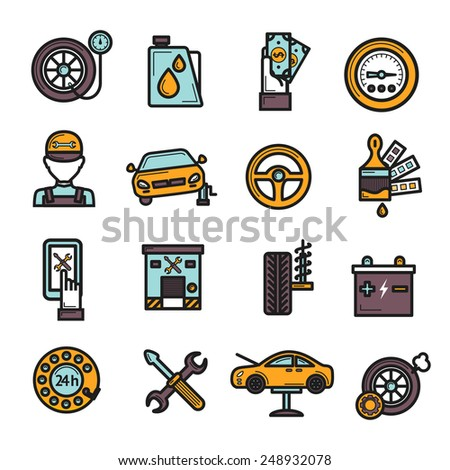 Auto service icon set with tire engine battery repair isolated vector illustration - stock vector