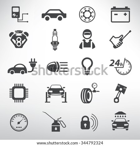 auto service icons set, repair and spare parts shop - stock vector