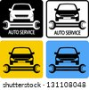 auto service icons set with car silhouette and spanner - stock vector
