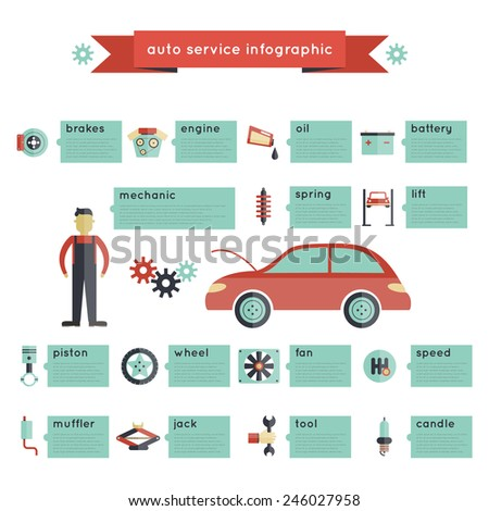 Auto service infographics set with car parts transport maintenance vector illustration - stock vector