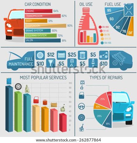 Auto service infographics set with car repair technical diagnostics symbols and charts vector illustration - stock vector