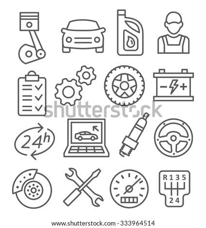 Auto Service Line Icons - stock vector