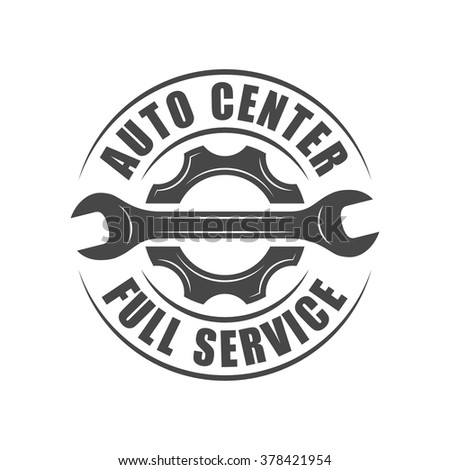 Auto service logotype, wrench and gear silhouette