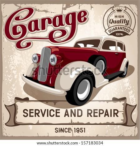 Auto service retro poster. Grungy style vector design. - stock vector