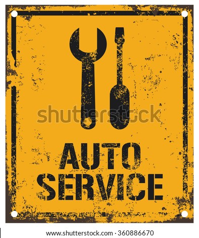 auto service sign - stock vector