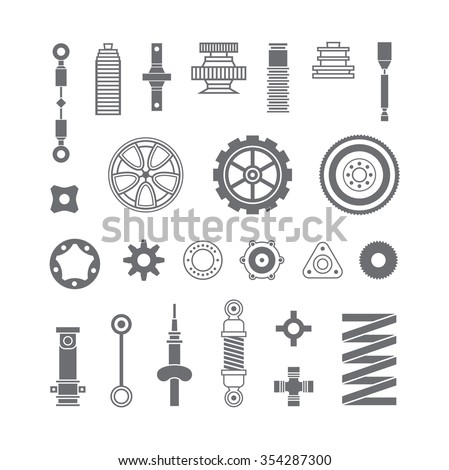Auto spare parts flat icons set on white background - stock vector